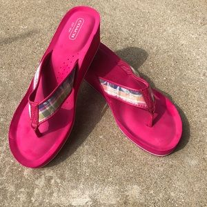 Coach platform wedge pink plaid flip flops